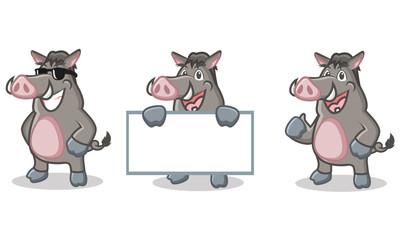 Gray Wild Pig Mascot happy