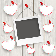 Instant Photo Frame Hanging Hearts Wood