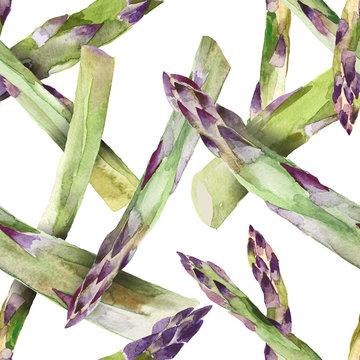 Watercolor Asparagus Seamless Pattern, Food illustration