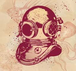 Old-fashioned diving equipment, hand drawn illustration