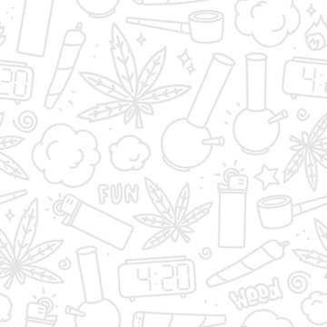 Marijuana weed cartoon seamless vector pattern white