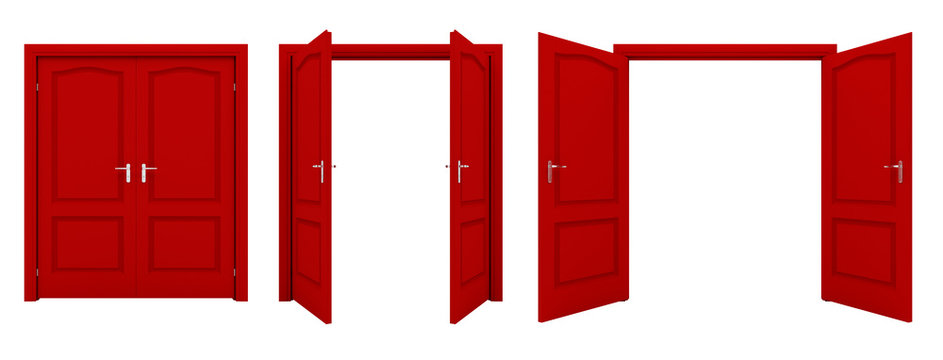 Open red double door isolated on a white background