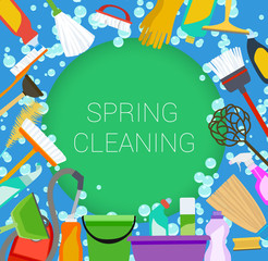 Spring cleaning supplies frame on green and blue
