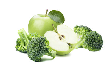 Broccoli green apple 2 isolated on white background
