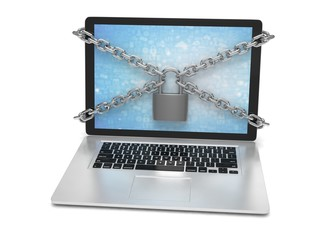 3d illustration computer security. laptop locked with chains and padlock