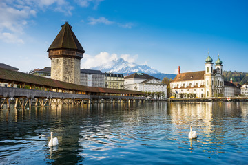 chapel bridge, kapellbruck in  lucerne, switzerland Wall mural