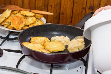 bake homemade potato pancakes