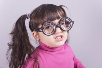 Funny nerdy little girl