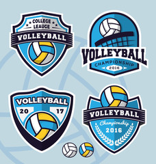 Set of volleyball logo template design for apparel, clothing and other design. Vector illustration