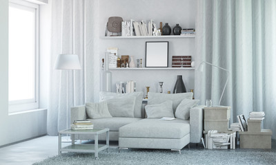 White modern interior with decor. 3d render
