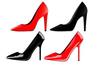 High heels, classic women shoes, red and black.