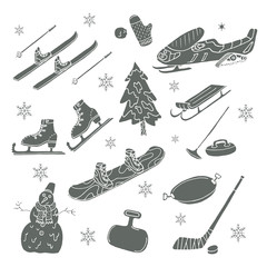 Winter games. Doodle set. Isolated