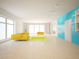 White interior design of living room with colored furniture