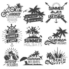Vector set of summer season labels in vintage style. Summer camp, beach holidays, tropical sea vacations.
