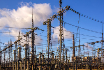 high-voltage lines and electrical distribution stations.
