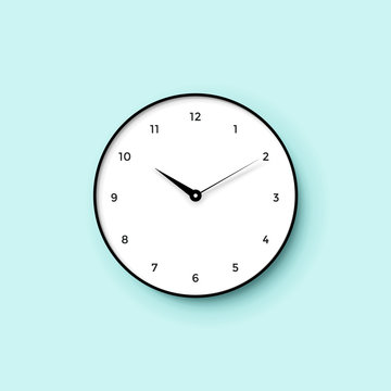 Icon of white clock face with shadow on mint wall background. Vector Illustration