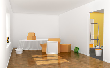 Concept of renovation. Big room with wooden floor, big windows and tools in process of renovation. 3d illustration