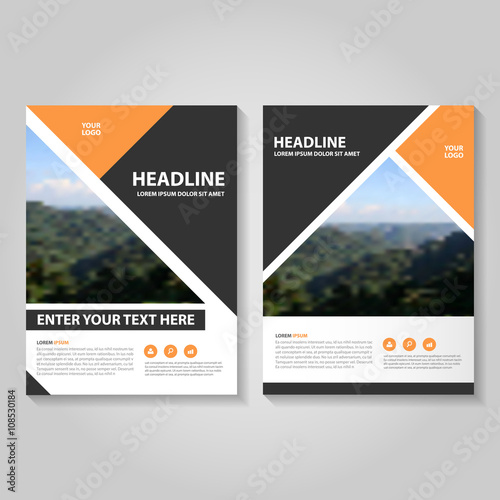 orange black vector business proposal leaflet brochure flyer template design book cover layout design
