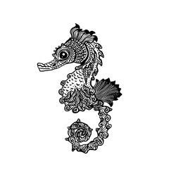 Hand drawn sea horse zentangle style