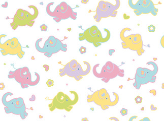 Vector cute elephants seamless pattern isolated.