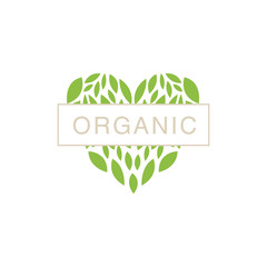 Heart With Text In Middle Organic Product Logo