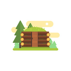 Wooden Cabin Illustration