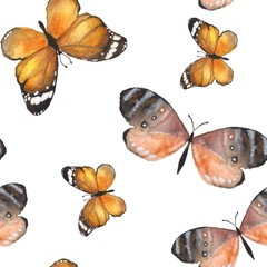 Butterfly. Watercolor background. Hand-drawn seamless pattern 1