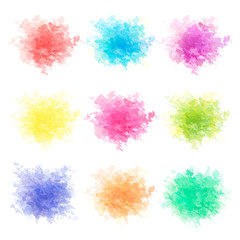 Colorful watercolor splashes isolated on white background. Red, pink, orange, yellow, purple, violet, blue, blue and green watercolor splashing. Vector illustration