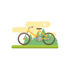 Bicycle With Landscape Illustration