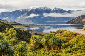 Clouds lying low near Wanaka in Southern Lakes, New Zealand