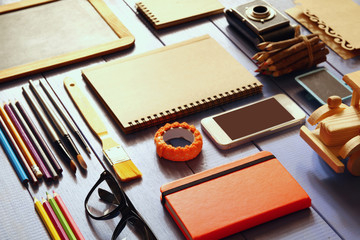 top view photo of business and school supplies