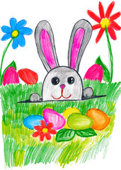 easter rabbit on green grass meadow with eggs and vegetables, holiday concept, spring season, child drawing on paper