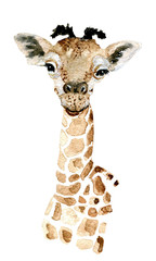 Giraffe. Watercolor painting. Can be used for postcards, prints and design