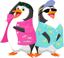Cute cartoon penguin in summer vacation