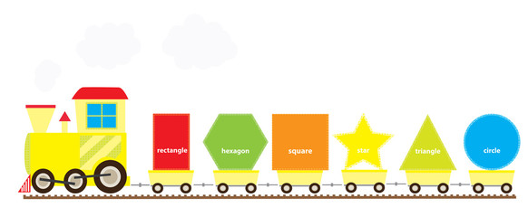 learning train with set of basic geometric shapes