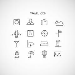 Line art travel icon set