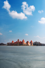 The palace in Lithuania on the picturesque lake.