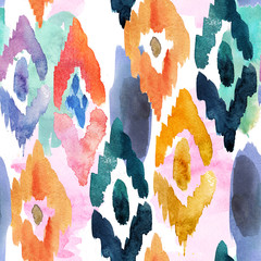 watercolor pattern of ornamental elements