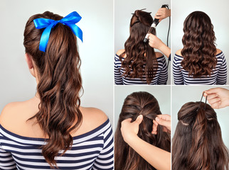 hairstyle pony tail on curly hair tutorial