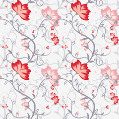 Seamless pattern with delicate intertwining stems and flowers.