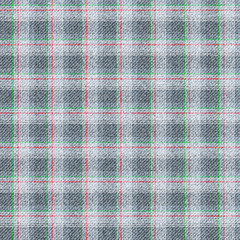 Seamless texture of wool fabric in a cage. Grey material with thin strips of red and green.