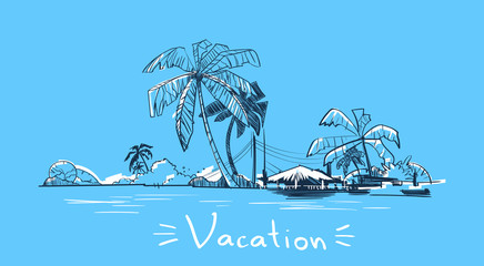 Summer Vacation Holiday Tropical Ocean Island With Palm Tree