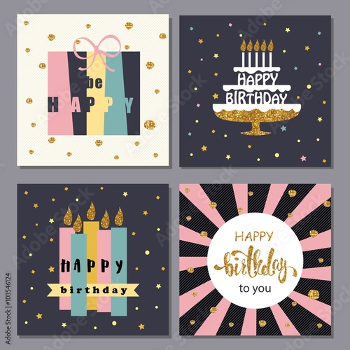 Collection Of Creative Happy Birthday Cards Stock Image And