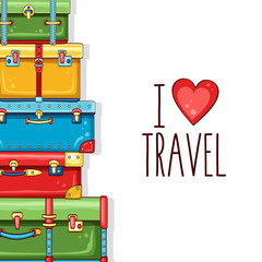 Travel background with stack of colorful suitcases