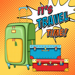 Travel pop art background with bag and stack of suitcases