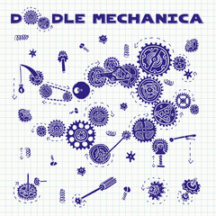 Doodle mechanica. Sketch on notebook sheet arrangements . Doodle cartoon mechanism with machinery and cogwheels. Vector. Isolated