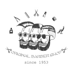 Original Barber shop. Trendy elements about hairdresser theme. Hipster logotype. Isolated.