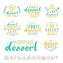 Set of dessert  labels, badges and icons