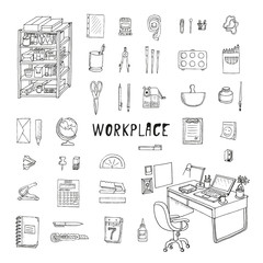 Workplace with stationery. Doodle set. Isolated