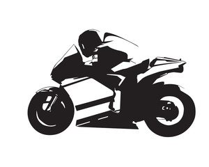 Motorcycle vector illustration, abstract isolated road motorbike